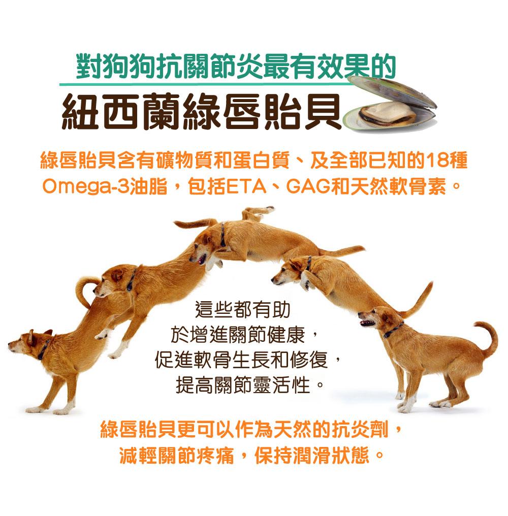 Pet Pet Premier, Joint Prime, Health Prime, 狗狗神仙粉, 關節神仙粉, 狗保健品   對狗狗抗關節炎最有效果的 紐西蘭綠唇貽貝 綠唇貽貝含有礦物質和蛋白質、及全部已知的18種Omega-3油脂,包括ETA、GAG和天然軟骨素。 這些都有助於增進關節健康,促進軟骨生長和修復,提高關節靈活性。 綠唇貽貝更可以作為天然的抗炎劑,減輕關節疼痛,保持潤滑狀態。